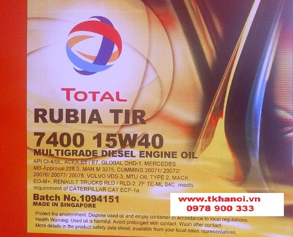 dầu động cơ total rubia tir 7400 15w40